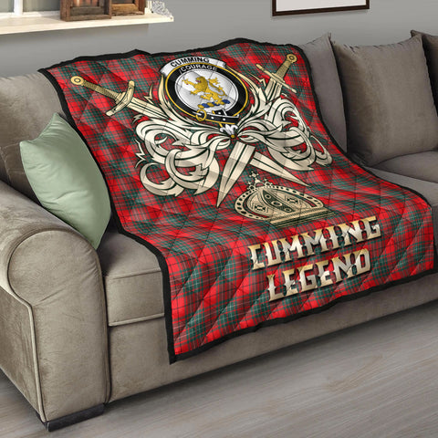 Cumming Modern Clan Crest Tartan Scotland Clan Legend Gold Royal Premium Quilt K9