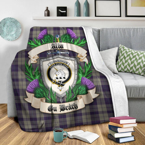 Cunningham Dress Blue Dancers Crest Tartan Blanket Thistle  | Tartan Home Decor | Scottish Clan