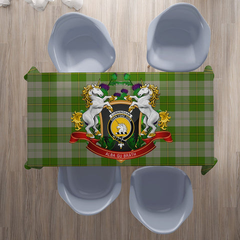 Image of Cunningham Dress Green Dancers Crest Tartan Tablecloth Unicorn Thistle | Home Decor