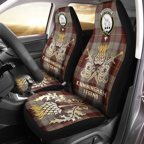 Car Seat Cover Cunningham Burgundy Dancers Clan Crest Gold Thistle Courage Symbol