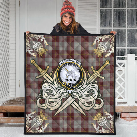 Image of Cunningham Burgundy Dancers Clan Crest Tartan Scotland Thistle Symbol Gold Royal Premium Quilt