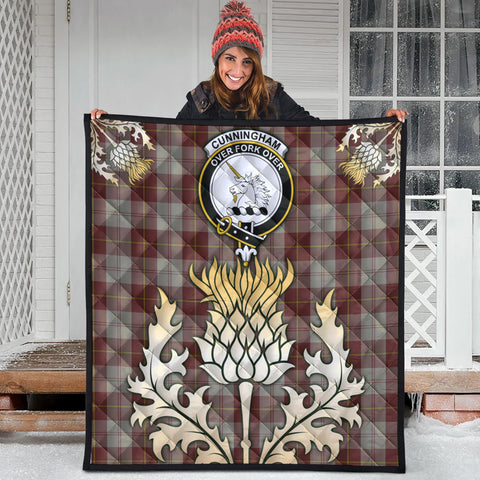 Cunningham Burgundy Dancers Clan Crest Tartan Scotland Thistle Gold Royal Premium Quilt