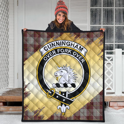 Image of Cunningham Burgundy Dancers Clan Crest Tartan Scotland Gold Royal Premium Quilt