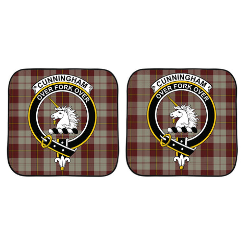 Cunningham Burgundy Dancers Clan Crest Tartan Scotland Car Sun Shade 2pcs K7