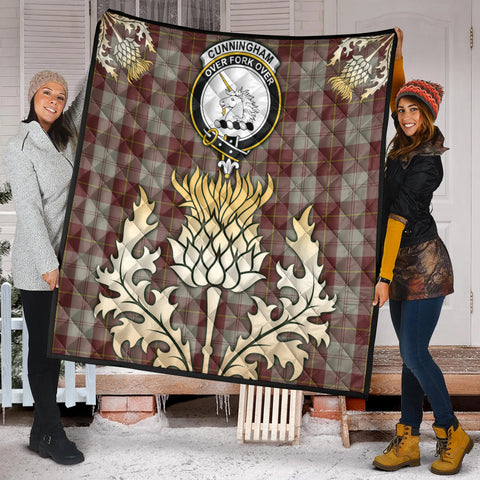 Image of Cunningham Burgundy Dancers Clan Crest Tartan Scotland Thistle Gold Royal Premium Quilt K9