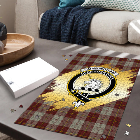 Image of Cunningham Burgundy Dancers Clan Crest Tartan Jigsaw Puzzle Gold