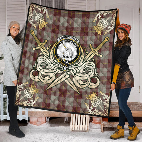 Image of Cunningham Burgundy Dancers Clan Crest Tartan Scotland Thistle Symbol Gold Royal Premium Quilt K9