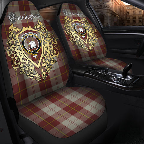 Cunningham Burgundy Dancers Clan Car Seat Cover Royal Sheild