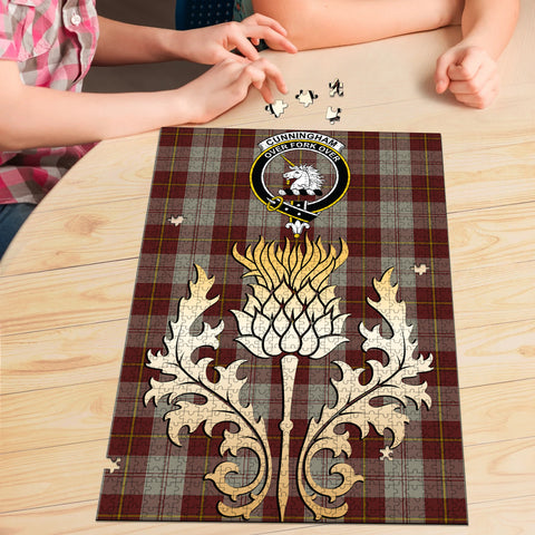 Image of Cunningham Burgundy Dancers Clan Crest Tartan Thistle Gold Jigsaw Puzzle