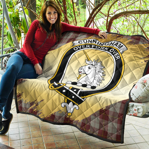 Image of Cunningham Burgundy Dancers Clan Crest Tartan Scotland Gold Royal Premium Quilt K9