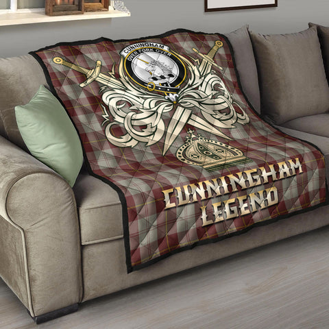 Cunningham Burgundy Dancers Clan Crest Tartan Scotland Clan Legend Gold Royal Premium Quilt K9
