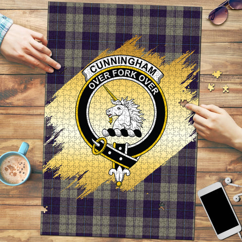 Image of Cunningham Dress Blue Dancers Clan Crest Tartan Jigsaw Puzzle Gold