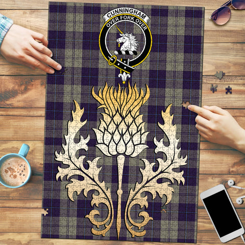Cunningham Dress Blue Dancers Clan Crest Tartan Thistle Gold Jigsaw Puzzle