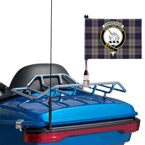 Cunningham Dress Blue Dancers Clan Crest Tartan Motorcycle Flag