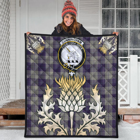 Cunningham Dress Blue Dancers Clan Crest Tartan Scotland Thistle Gold Royal Premium Quilt