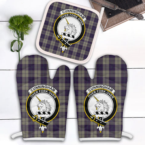 Image of Cunningham Dress Blue Dancers Clan Crest Tartan Scotland Oven Mitt And Pot-Holder (Set Of Two)
