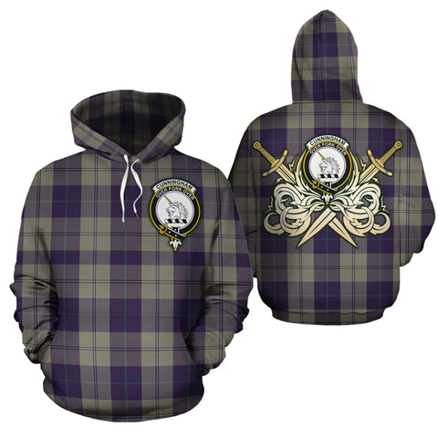 Cunningham Dress Blue Dancers Clan Crest Tartan Scottish Gold Thistle Hoodie