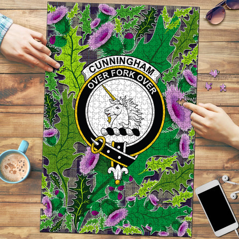Cunningham Dress Blue Dancers Clan Crest Tartan Thistle Pattern Scotland Jigsaw Puzzle
