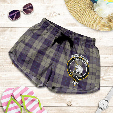Cunningham Dress Blue Dancers crest Tartan Shorts For Women