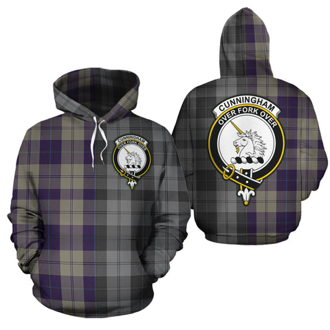 Cunningham Dress Blue Dancers Clan Half Of Me New Version Crest Tartan Hoodie