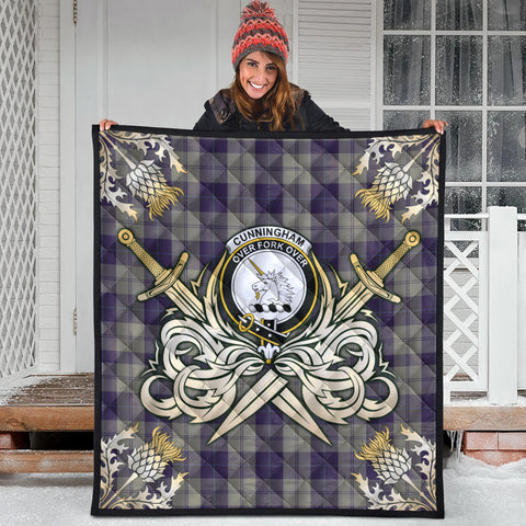 Cunningham Dress Blue Dancers Clan Crest Tartan Scotland Thistle Symbol Gold Royal Premium Quilt