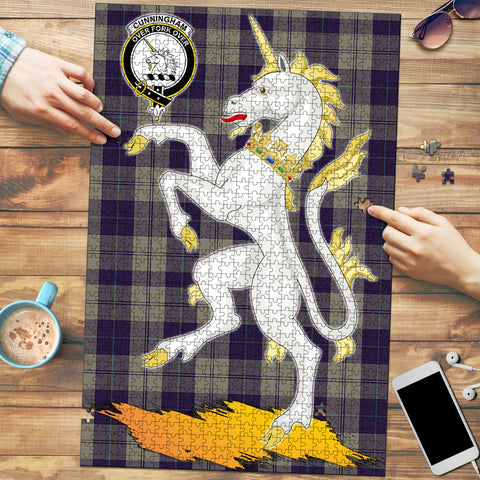 Image of Cunningham Dress Blue Dancers Clan Crest Tartan Unicorn Scotland Jigsaw Puzzle