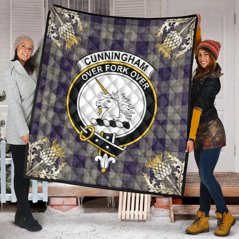 Cunningham Dress Blue Dancers Clan Crest Tartan Scotland Thistle Gold Pattern Premium Quilt K9