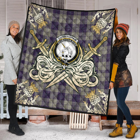 Image of Cunningham Dress Blue Dancers Clan Crest Tartan Scotland Thistle Symbol Gold Royal Premium Quilt K9
