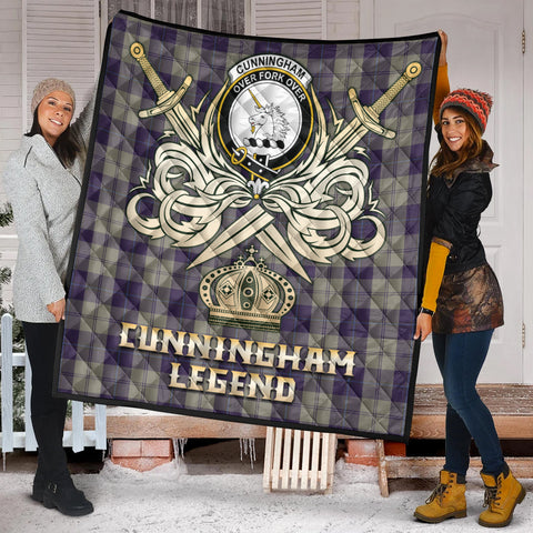 Cunningham Dress Blue Dancers Clan Crest Tartan Scotland Clan Legend Gold Royal Premium Quilt K9