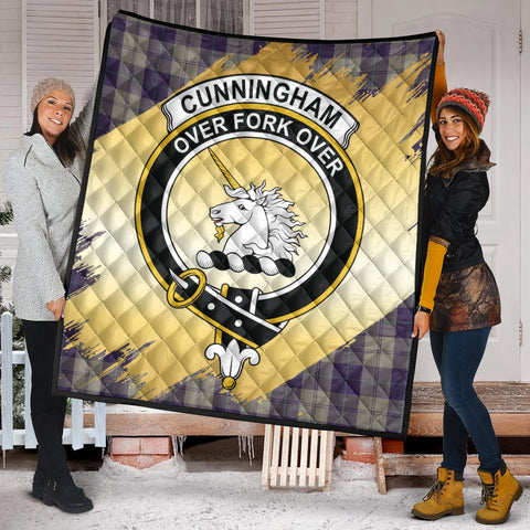 Cunningham Dress Blue Dancers Clan Crest Tartan Scotland Gold Royal Premium Quilt K9