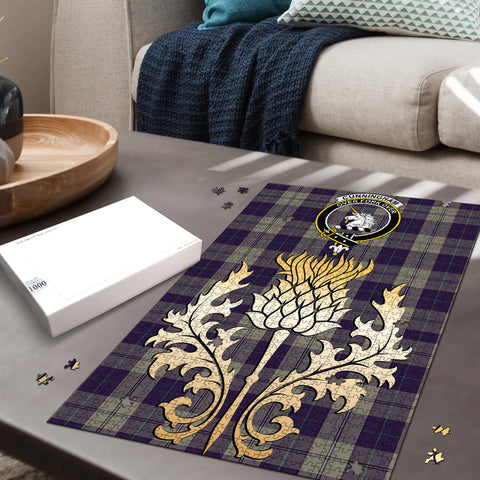 Image of Cunningham Dress Blue Dancers Clan Crest Tartan Thistle Gold Jigsaw Puzzle