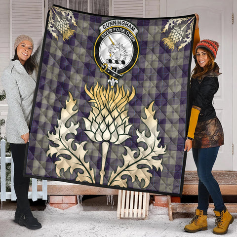 Image of Cunningham Dress Blue Dancers Clan Crest Tartan Scotland Thistle Gold Royal Premium Quilt K9
