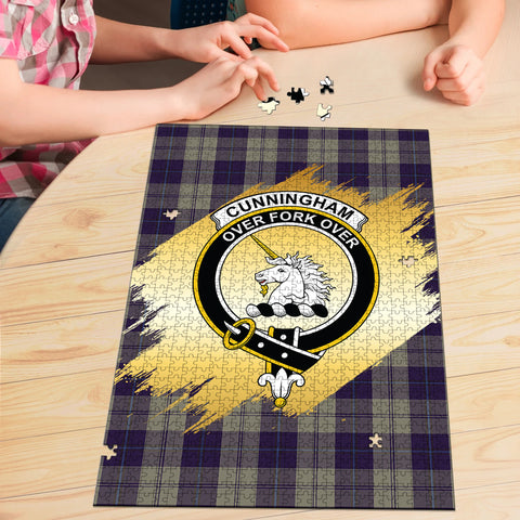 Cunningham Dress Blue Dancers Clan Crest Tartan Jigsaw Puzzle Gold