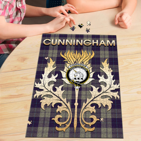 Cunningham Dress Blue Dancers Clan Name Crest Tartan Thistle Scotland Jigsaw Puzzle