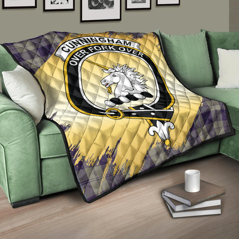 Image of Cunningham Dress Blue Dancers Clan Crest Tartan Scotland Gold Royal Premium Quilt K9