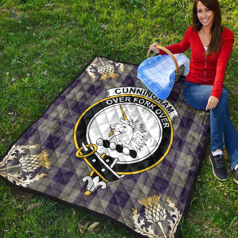 Image of Cunningham Dress Blue Dancers Clan Crest Tartan Scotland Thistle Gold Pattern Premium Quilt K9