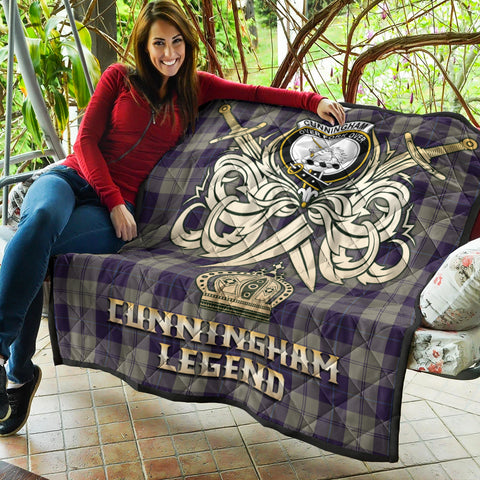 Image of Cunningham Dress Blue Dancers Clan Crest Tartan Scotland Clan Legend Gold Royal Premium Quilt K9
