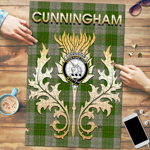 Image of Cunningham Dress Green Dancers Clan Name Crest Tartan Thistle Scotland Jigsaw Puzzle