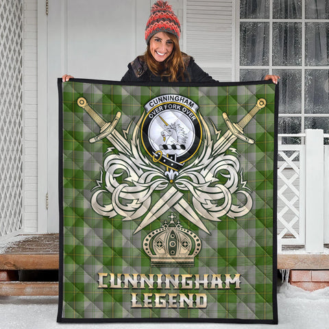 Cunningham Dress Green Dancers Clan Crest Tartan Scotland Clan Legend Gold Royal Premium Quilt
