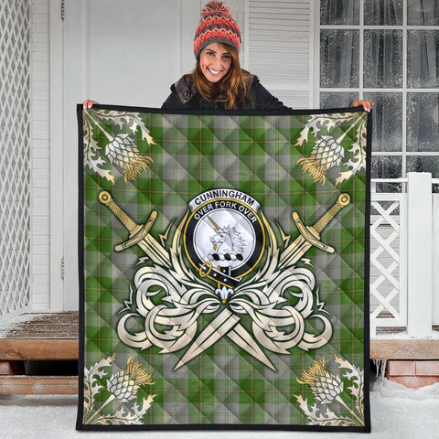 Cunningham Dress Green Dancers Clan Crest Tartan Scotland Thistle Symbol Gold Royal Premium Quilt