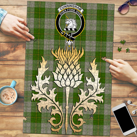Image of Cunningham Dress Green Dancers Clan Crest Tartan Thistle Gold Jigsaw Puzzle