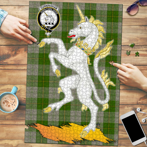 Image of Cunningham Dress Green Dancers Clan Crest Tartan Unicorn Scotland Jigsaw Puzzle