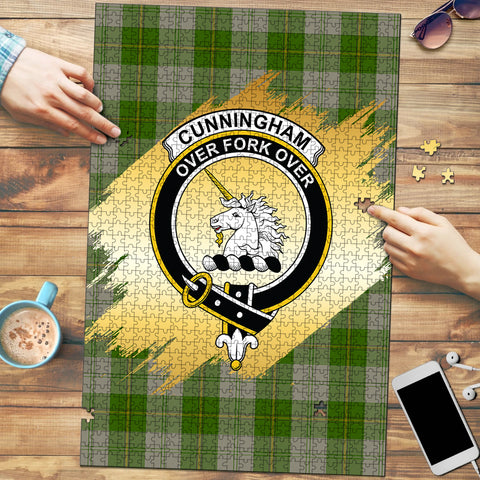 Cunningham Dress Green Dancers Clan Crest Tartan Jigsaw Puzzle Gold
