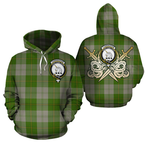 Cunningham Dress Green Dancers Clan Crest Tartan Scottish Gold Thistle Hoodie