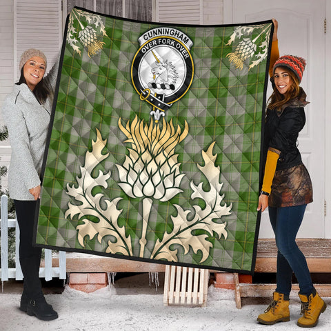 Image of Cunningham Dress Green Dancers Clan Crest Tartan Scotland Thistle Gold Royal Premium Quilt K9