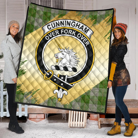 Cunningham Dress Green Dancers Clan Crest Tartan Scotland Gold Royal Premium Quilt K9
