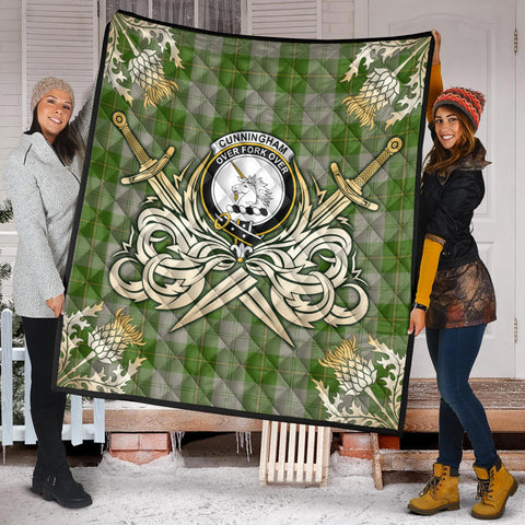 Image of Cunningham Dress Green Dancers Clan Crest Tartan Scotland Thistle Symbol Gold Royal Premium Quilt K9