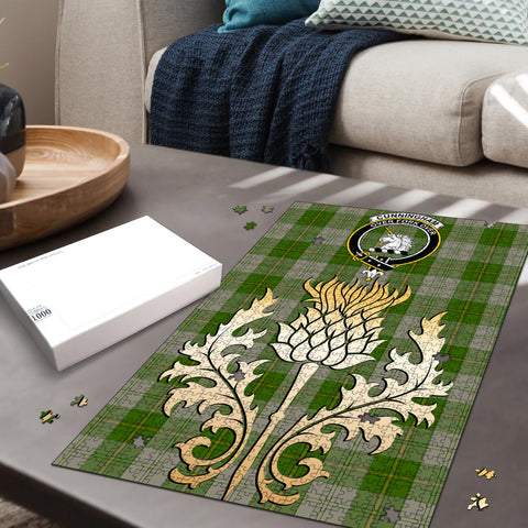 Cunningham Dress Green Dancers Clan Crest Tartan Thistle Gold Jigsaw Puzzle