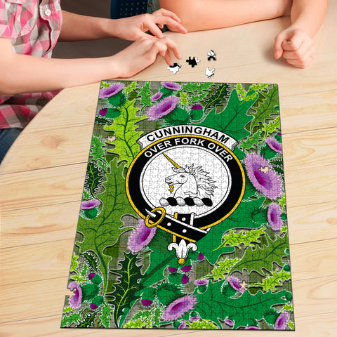 Image of Cunningham Dress Green Dancers Clan Crest Tartan Thistle Pattern Scotland Jigsaw Puzzle