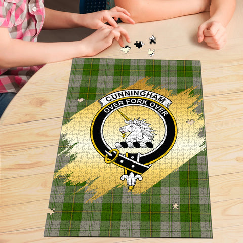 Image of Cunningham Dress Green Dancers Clan Crest Tartan Jigsaw Puzzle Gold